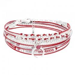 Bracelet multi tours argent cordons rouges & Croissant