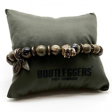 Bracelet homme SONORA - Pierres de roche beige & Tête de mort bronze