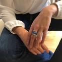Bague tube en argent anneaux & céramique bleue- L'OCEANE
