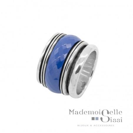 Bague tube en argent anneaux & céramique bleue - L'OCEANE