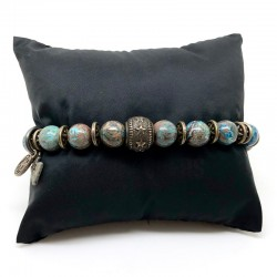 Bracelet homme BOOTLEGGERS SONORA argent - Perles bleues & Perle étoilée