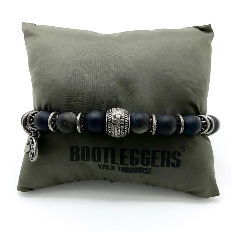 Bracelet homme SONORA - Onyx noir mat & Perle croix étain