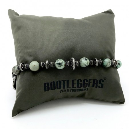 Bracelet homme VOODOO LAGON - Turquoises africaines & Jaserons étain