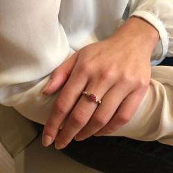 Bague fine ethnique en argent laiton doré rubis & perles blanches