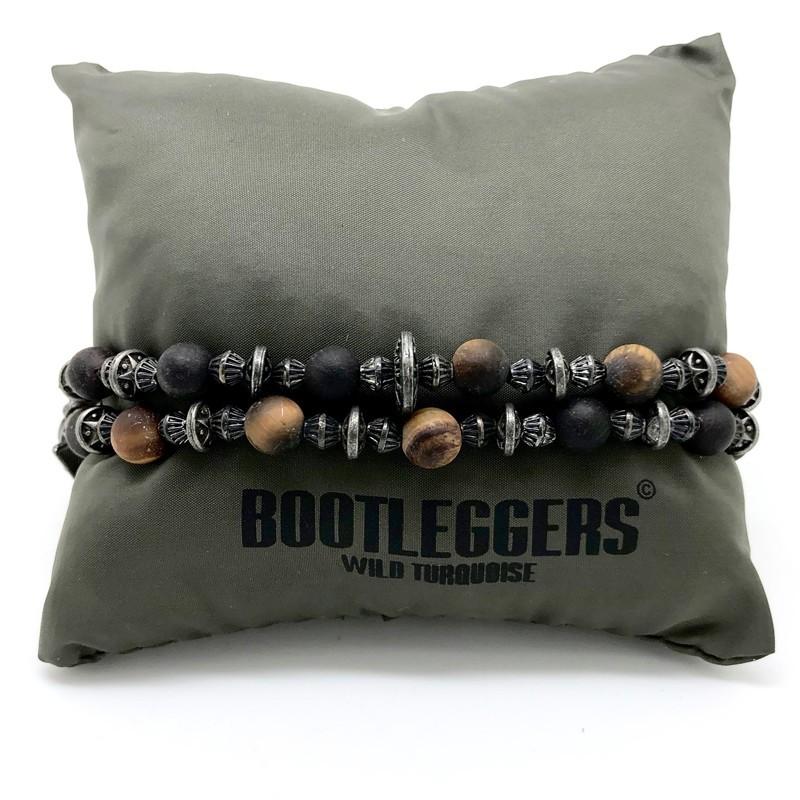 Bracelet multi tours VOODOO - Perles de roche & Bois Jaserons étain