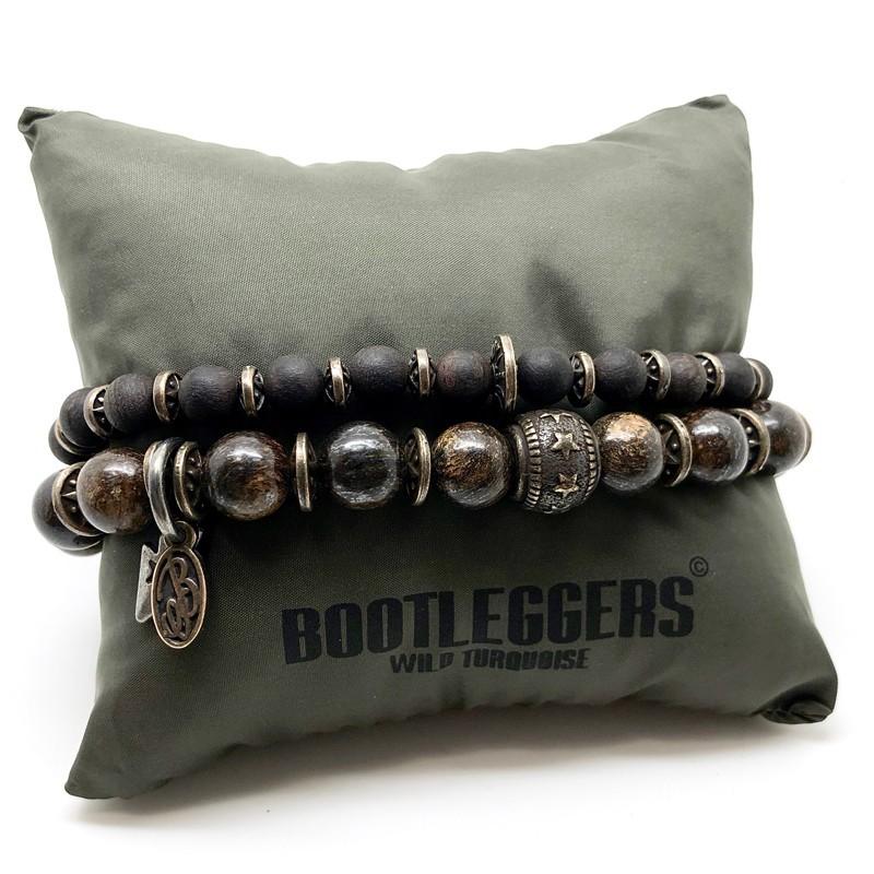 Bracelet multi tours APALACHE - Bronzites Perles bois & Etoile étain