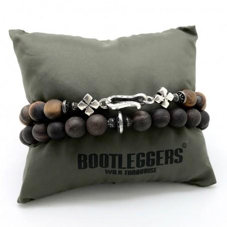 Bracelet multi-tours homme BLACK STAR - Perles de bois & Disque ethni