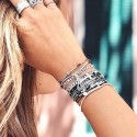 Bracelet 3 tours en argent cordons noirs & Croix design