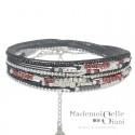 Bracelet multi tours Egérie argent - Cordons Gris & Rouge
