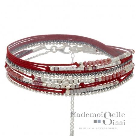 Bracelet multi tours Egérie argent - Cordons & Perles Rouges
