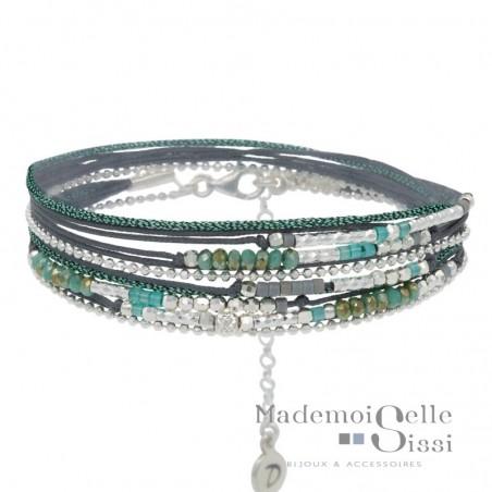 Bracelet multi tours Egérie argent - Cordons et Perles grises & vertes