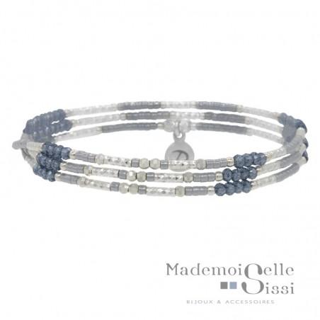 Bracelet multi tours élastique Argent & Perles bleu gris