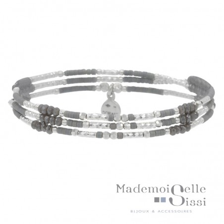 Bracelet multi-tours élastique Argent & Perles grises