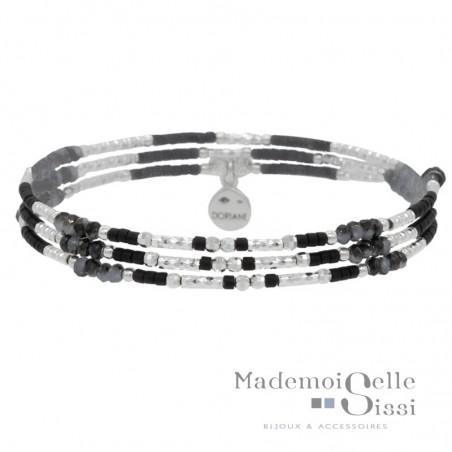 Bracelet multi tours élastique Argent & Perles noires