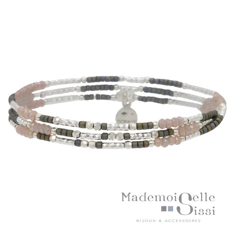 Bracelet multi tours élastique Argent & Perles gris beige