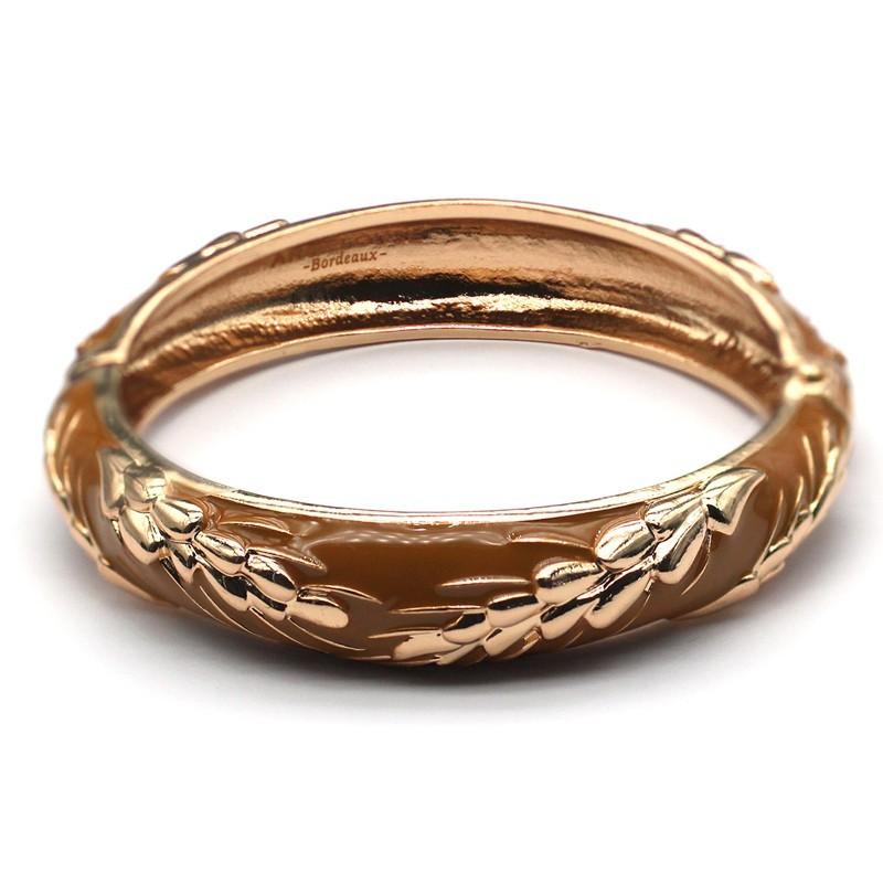 Bracelet Jonc Amok Doré émaillé Camel & Epis de blé dorés