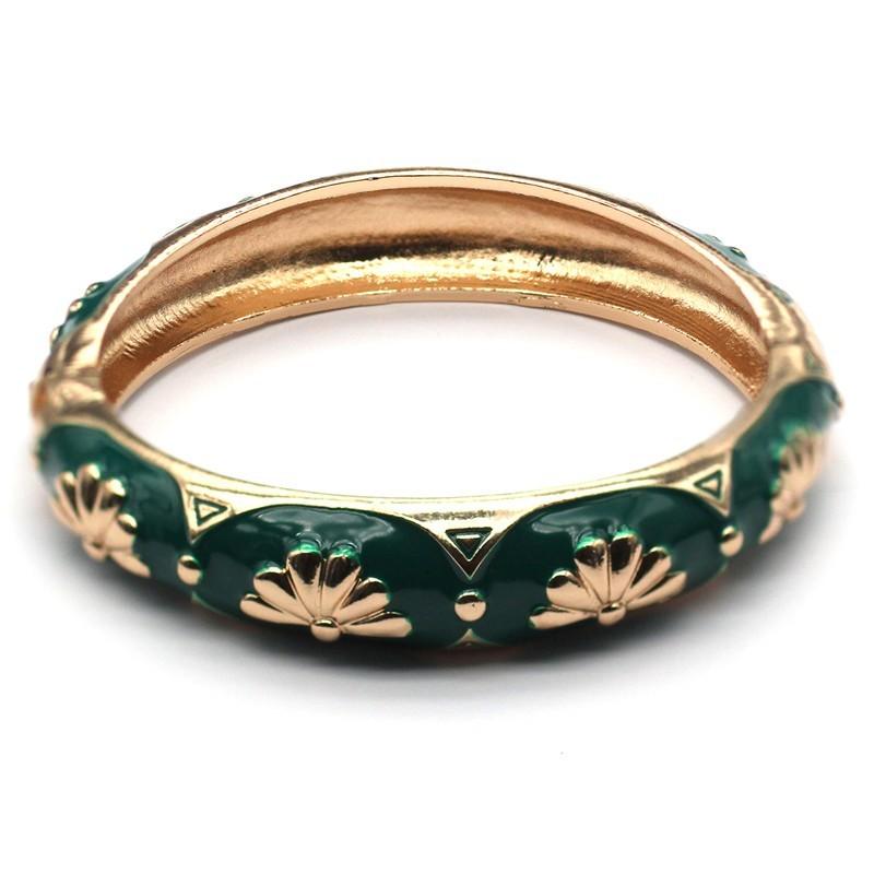 Bracelet Jonc Amok Doré émaillé Vert & Eventails dorés - ARGELOUSE