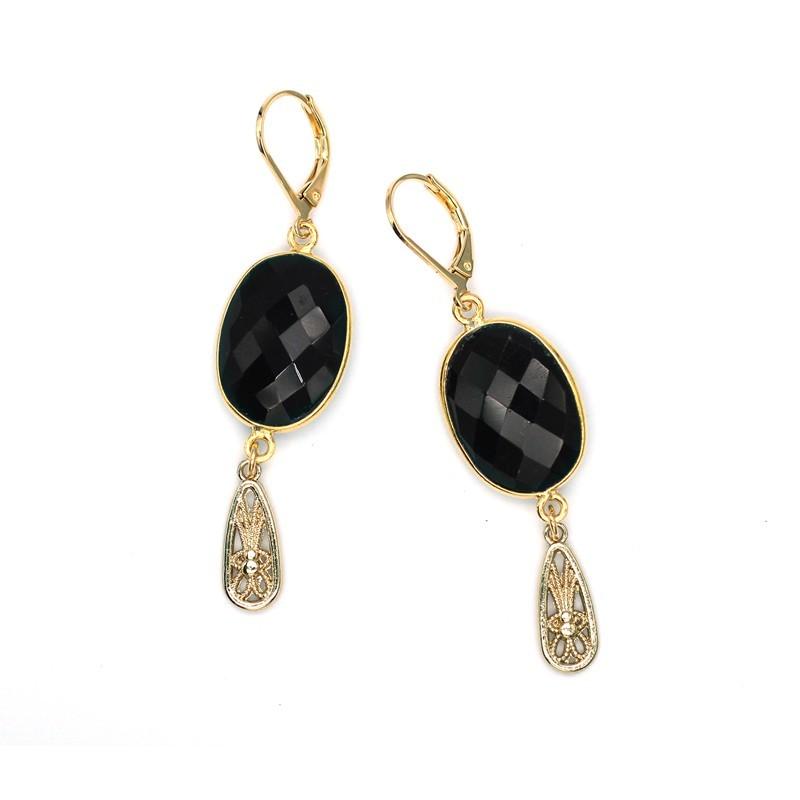 Boucles d'oreilles Suzie Or - Onyx noir & pampille