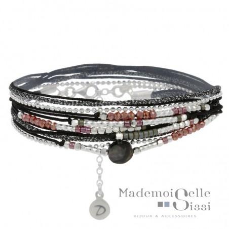 Bracelet multi-tours argent - Cordons noirs & Perles Rouges