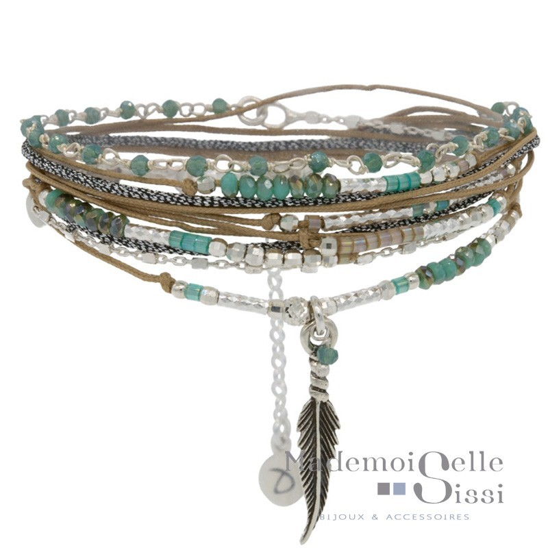 Bracelet multi tours Feather argent - Beige Vert & Décor Plume