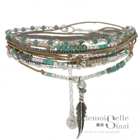 Bracelet multi-tours Feather argent - Beige Vert & Décor Plume