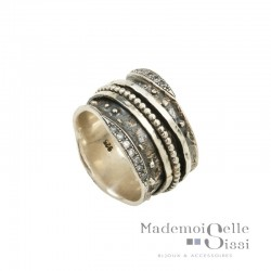 Bague THEMA - Bague tube Large en Argent & Zircons - LA ROMAINE