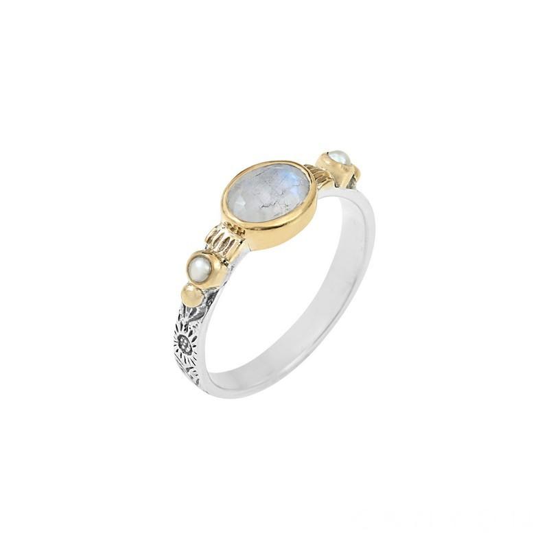 Bague Canyon - Bague fine ethnique en argent laiton doré Pierre de Lune & perles blanches