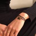 Bracelet multi tours Cali - Pampilles & médaille bleu doré