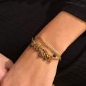 Bracelet multi-rangs Beth - Perles bleues & Lurex beige doré By Garance