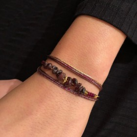 Bracelet multirangs Chloé - Grenats & Lurex bordeaux doré