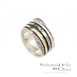 Bague THEMA - Bague tube Large Argent Or & Zircons - L'INFINIE