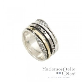 Bague tube Large Argent Or & Zircons - L'INFINIE