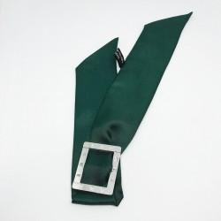 Exemple de bracelet manchette avec le Ruban de soie 4 cm vert sapin