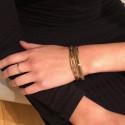 Bracelet Milan - Jonc ouvert doré & Lien perlé miyuki kaki doré