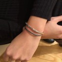 Bracelet multirangs Line - Jonc volutes argent & Lien cuir gris