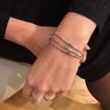 Bracelet multi tours élastique Argent & Perles grises