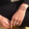 Bracelet multi tours élastique Argent & Perles bleues