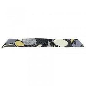 Foulard soie largeur 4 cm gris noir et jaune