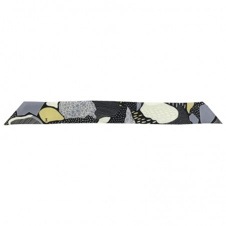 Bracelet à nouer - Ruban de soie Noir Gris & Jaune 4 cm