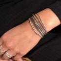 Bracelet multi tours Egérie argent - Cordons & Perles grises