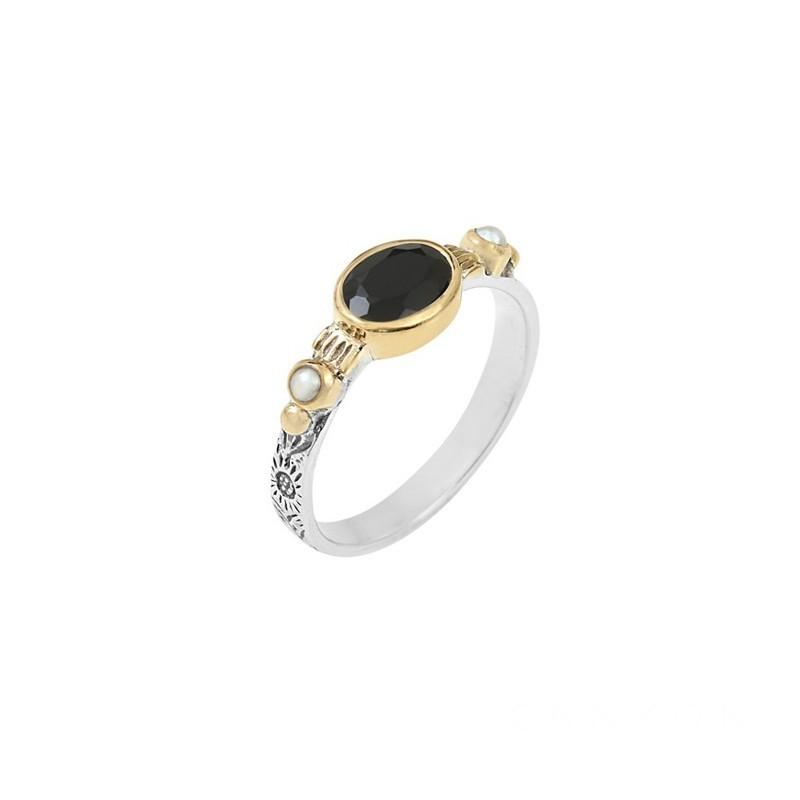 Bague fine ethnique en argent laiton doré Onyx & perles blanches