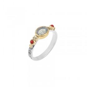 Bague Canyon - Bague fine ethnique en argent laiton doré Lapiz Lazuli & perles rouge
