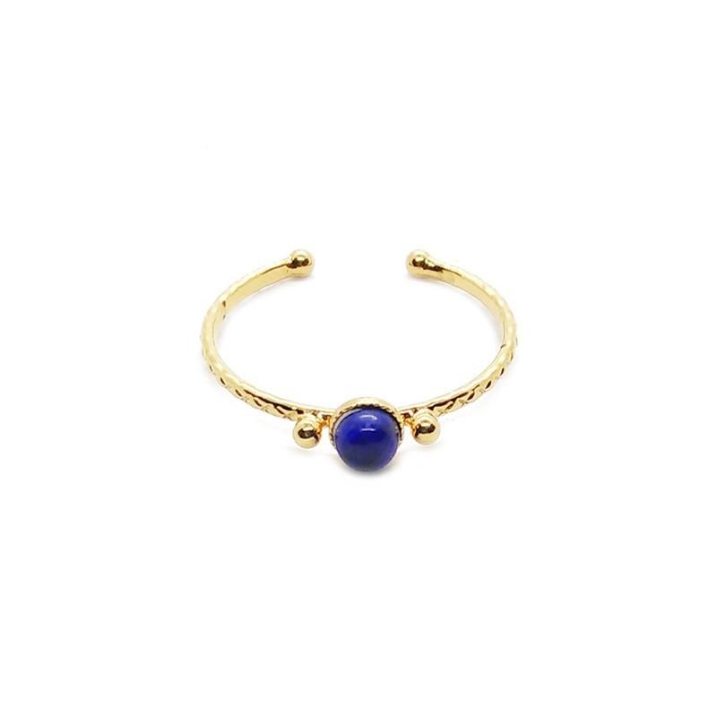 Bague fine ajustable Or SOLEDAD & cabochon Lapiz lazuli