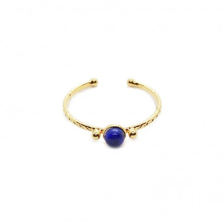 Bague fine ajustable Or SOLEDAD cabochon Lapiz lazuli