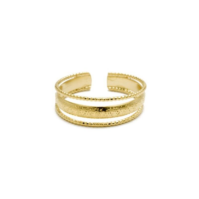 Bague ajustable Or stylisée Triple anneaux designs