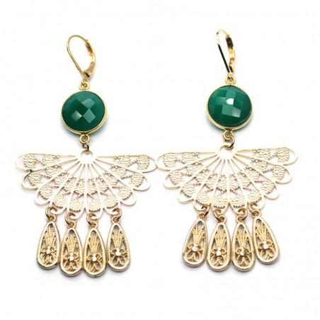 Boucles d'oreilles Cléopatre Or Onyx vert & éventail pampilles