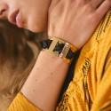 Bracelet jonc petite manchette & foulard de soie noir
