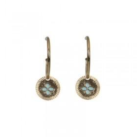 Lovely Day Bijoux - Boucles d'oreilles Chance - Petites créoles Dorées & médaille trèfle 2 cm