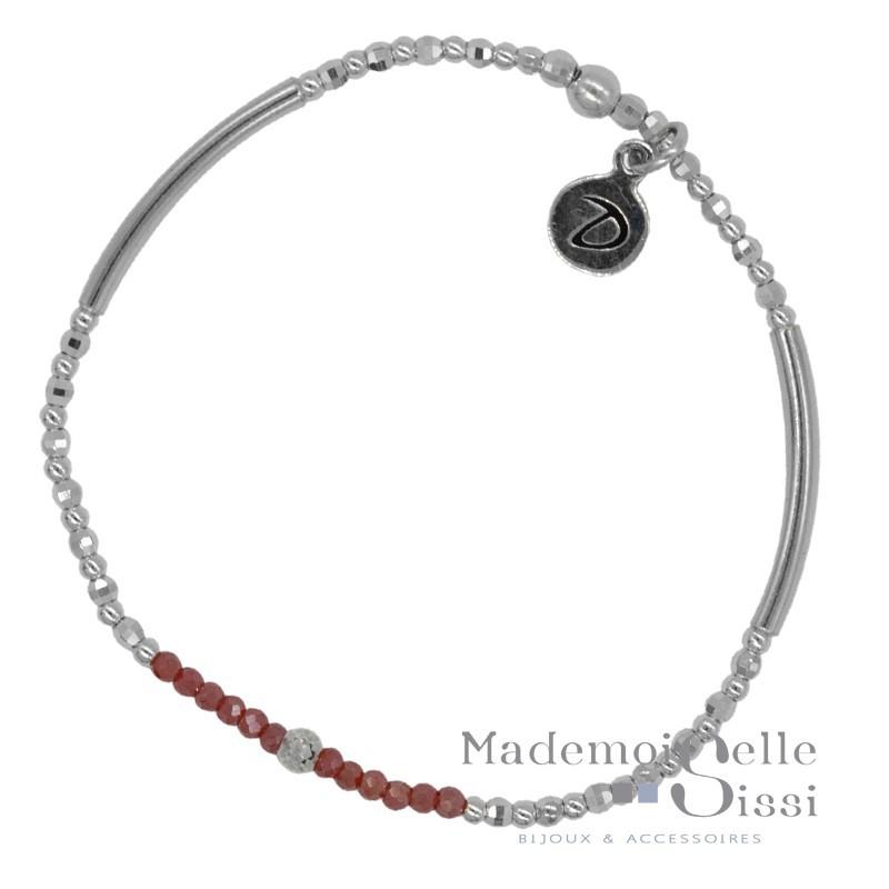 Bracelet fin élastiqué Flirting - Perles argent & Hématites rouges