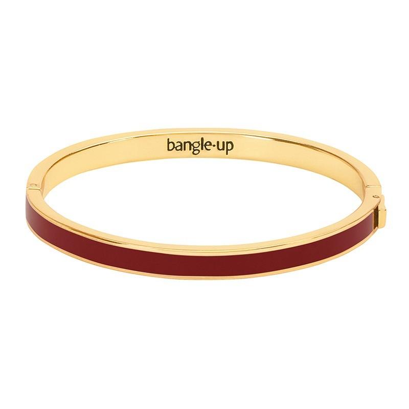 Bracelet jonc fin Bangle en laiton doré émaillé Bordeaux